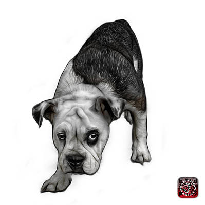 Painting - Greyscale English Bulldog Dog Art - 1368 - Wb by James Ahn