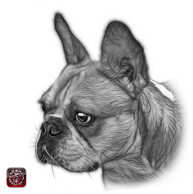 Painting - Greyscale French Bulldog Pop Art - 0755 Wb by James Ahn