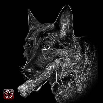 Digital Art - Greyscale German Shepherd And Toy - 0745 F by James Ahn