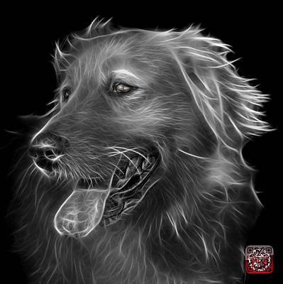 Digital Art - Greyscale Golden Retriever - 4057 Bb by James Ahn