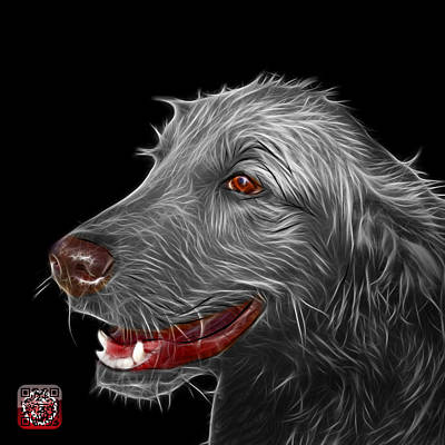 Painting - Greyscale Golden Retriever Dog Art- 5421 - Bb by James Ahn