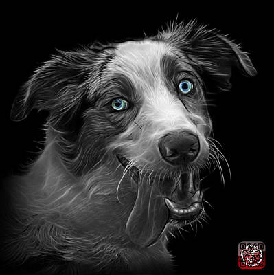 Painting - Greyscale Merle Australian Shepherd - 2136 - Bb by James Ahn
