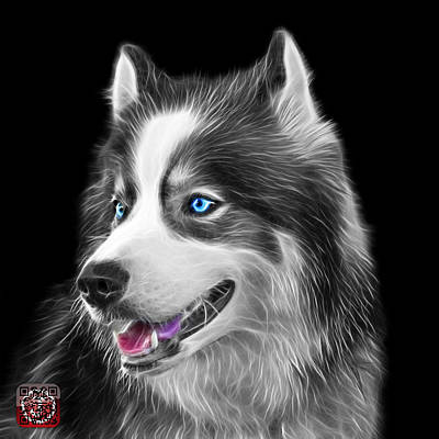 Painting - Greyscale Modern Siberian Husky Dog Art - 6024 - Bb by James Ahn