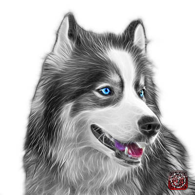 Painting - Greyscale Modern Siberian Husky Dog Art - 6024 - Wb by James Ahn