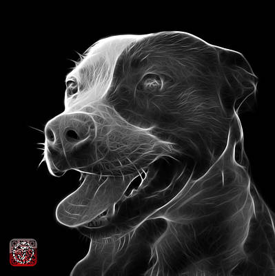 Mixed Media - Greyscale Pit Bull Fractal Pop Art - 7773 - F - Bb by James Ahn