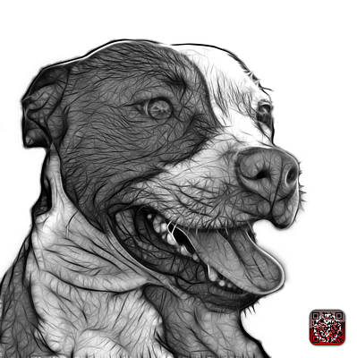 Mixed Media - Greyscale Pit Bull Fractal Pop Art - 7773 - F - Wb by James Ahn