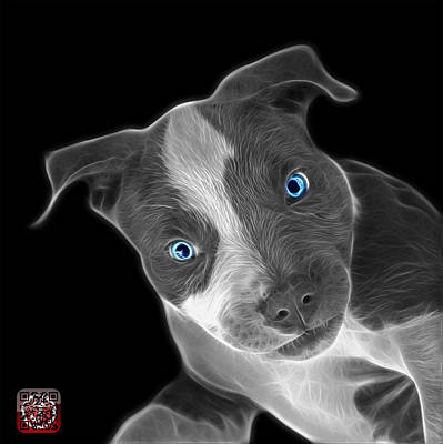 Painting - Greyscale Pitbull 7435 - Bb by James Ahn