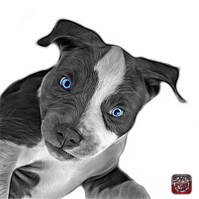 Painting - Greyscale Pitbull Dog Art 7435 - Wb by James Ahn