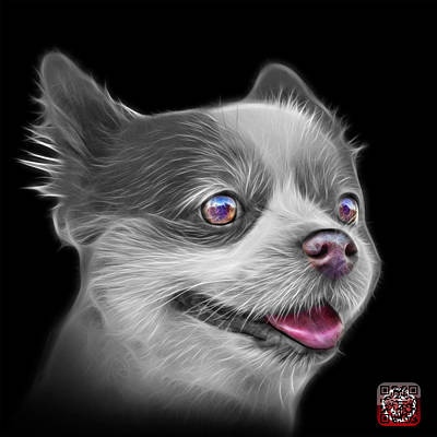 Painting - Greyscale Pomeranian Dog Art 4584 - Bb by James Ahn