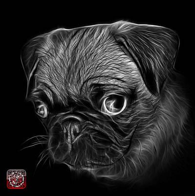 Digital Art - Greyscale Pug -  9567 Fs B by James Ahn