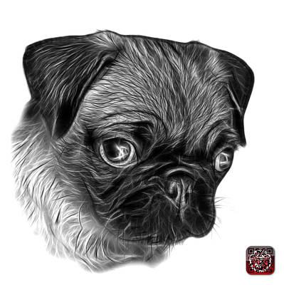 Digital Art - Greyscale Pug -  9567 Fs W by James Ahn