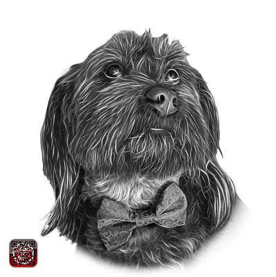 Painting - Greyscale Schnoodle Pop Art - 3687 by James Ahn