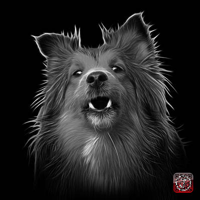 Painting - Greyscale Sheltie Dog Art 0207 - Bb by James Ahn