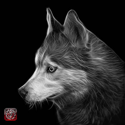 Painting - Greyscale Siberian Husky Art - 6048 - Bb by James Ahn