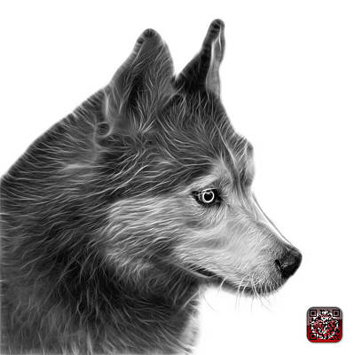 Painting - Greyscale Siberian Husky Art - 6048 - Wb by James Ahn