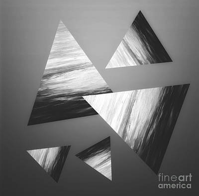 Mixed Media - Greyscale Triangle Abstract by Rachel Hannah