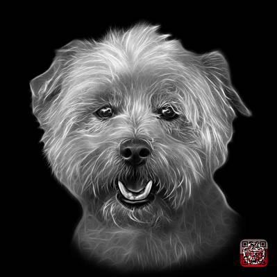 Mixed Media - Greyscale West Highland Terrier Mix - 8674 - Bb by James Ahn