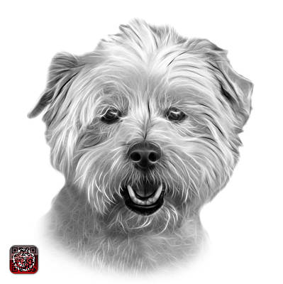 Mixed Media - Greyscale West Highland Terrier Mix - 8674 - Wb by James Ahn