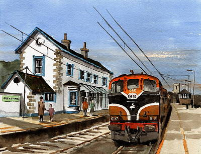 Painting - Greystones Railway Station Wicklow by Val Byrne