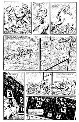 Hall Of Fame Coach Drawing - Gridiron  2 Black And White Teaser Page by Greg Le Duc Ron Randall