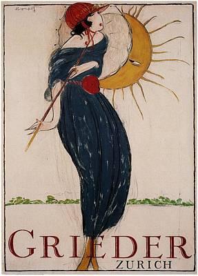 Mixed Media - Grieder - Zurich, Switzerland - Vintage Advertising Poster by Studio Grafiikka