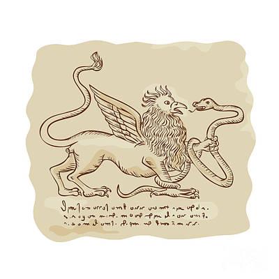 Griffon Digital Art - Griffin Fighting Snake Side Etching by Aloysius Patrimonio