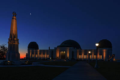 Photograph - Griffith Observatory And Crescent Moon At Blue Hour by Ram Vasudev