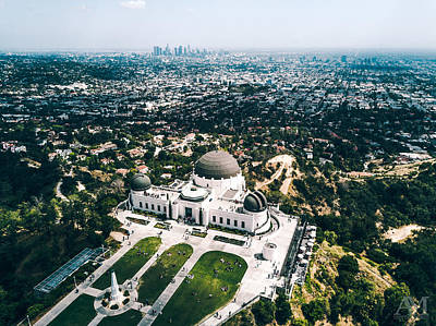 Griffith Observatory And Dtla Art Print by Andrew Mason