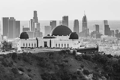 Griffith Observatory And La Black And White Art Print by John McGraw