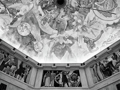 Photograph - Griffith Observatory Ceiling Art - Black And White Rendition by Ram Vasudev