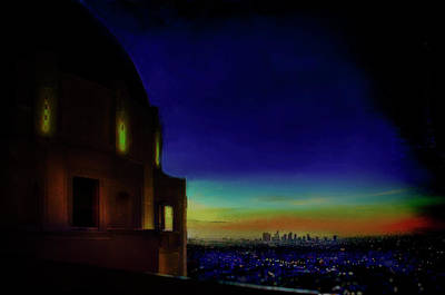 Mixed Media - Griffith Observatory To Downtown L A by Joseph Hollingsworth