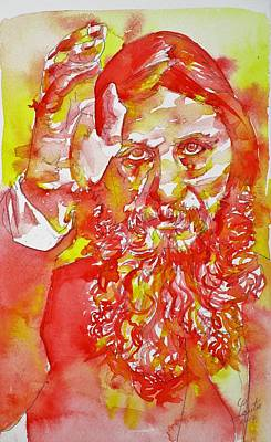 Painting - Grigori Rasputin - Watercolor Portrait.5 by Fabrizio Cassetta