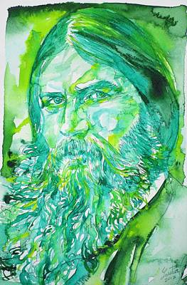 Painting - Grigori Rasputin - Watercolor Portrait.6 by Fabrizio Cassetta