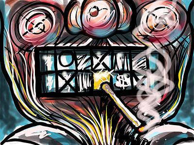 Digital Art - Grill Smoker by Joe Bloch