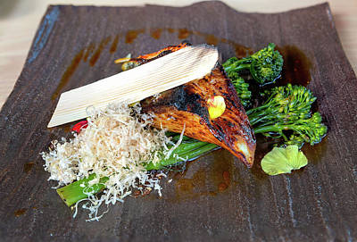 Photograph - Grilled Miso Black Cod With Broccoli Closeup by Jit Lim