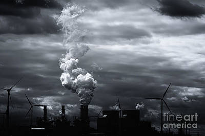 Grim Black White Energy Landscape Art Print