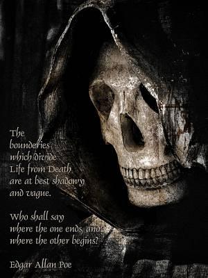 Grim Reaper And Edgar Allan Poe Art Print