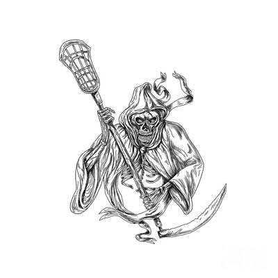 Grim Digital Art - Grim Reaper Lacrosse Defense Pole Tattoo by Aloysius Patrimonio