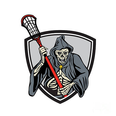 Grim Digital Art - Grim Reaper Lacrosse Player Crosse Stick Retro by Aloysius Patrimonio