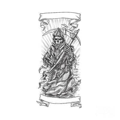 Grim Digital Art - Grim Reaper Scythe Ribbon Tattoo by Aloysius Patrimonio