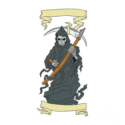 Grim Digital Art - Grim Reaper Scythe Scroll Drawing by Aloysius Patrimonio