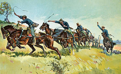 Grimes's Battery Going Up El Pozo Hill Art Print by Frederic Remington