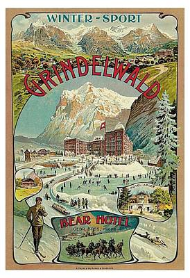 Winter Sports Painting - Grindewald Switzerland Travel Poster by MotionAge Designs