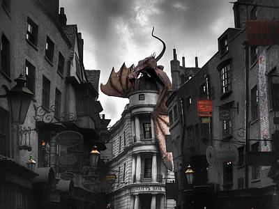 Harry Potter Digital Art - Gringotts Under Attack  by Luis Rosario