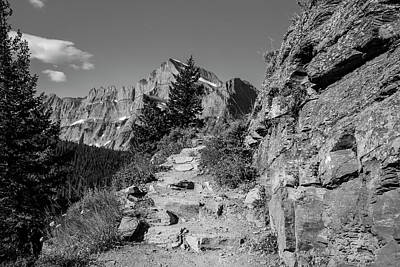Photograph - Grinnell Glacier Path Black And White  by John McGraw