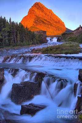Photograph - Grinnell Glow Over Swiftcurrent Falls by Adam Jewell