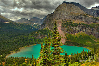 Photograph - Grinnell Green Below The Towering Peaks by Adam Jewell