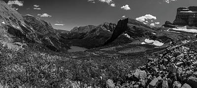 Photograph - Grinnell Lake Black And White Panoramic  by John McGraw