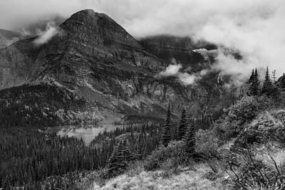 Photograph - Grinnell Lake From The Trail No. 1 Bw - Glacier Np by Belinda Greb