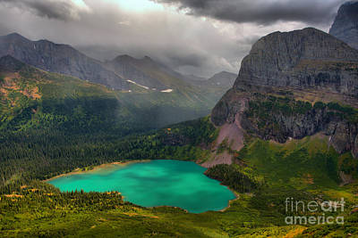 Photograph - Grinnell Lake Shining Under The Storm by Adam Jewell